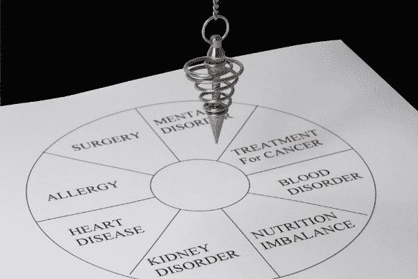 Pêndulo em papel de mesa radiônica visto de cima