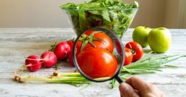 Legumes e verduras com lupa.
