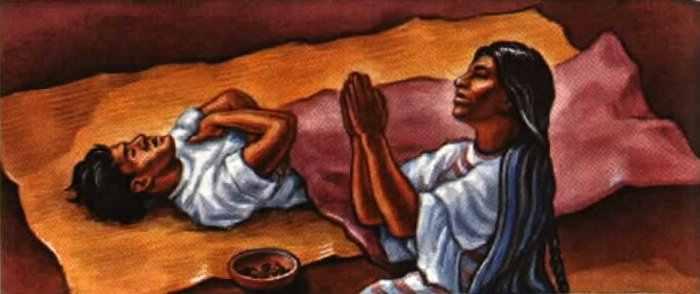 Desenho de uma mulher negra rezando enquanto há um homem deitado coberto.