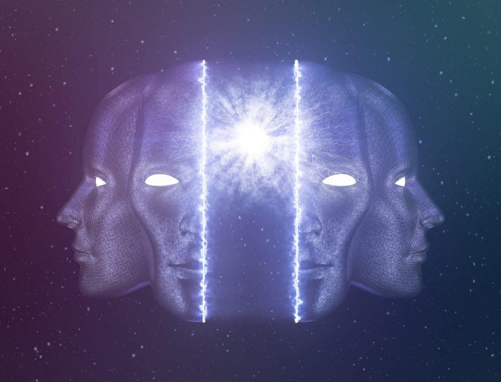 Ilustração de uma cabeça humana dividida ao meio, com uma bola de luz no lugar do cérebro.