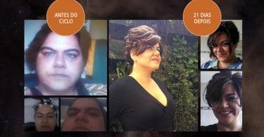 Montagem de fotos da autora antes e depois do processo