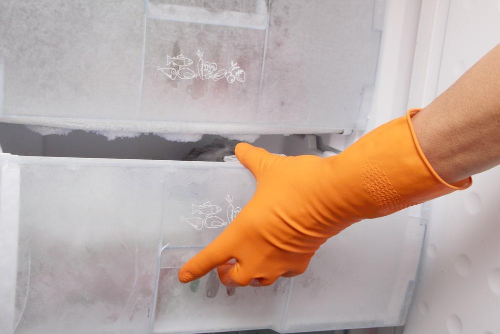 Pessoa abrindo uma gaveta com alimentos congelados.