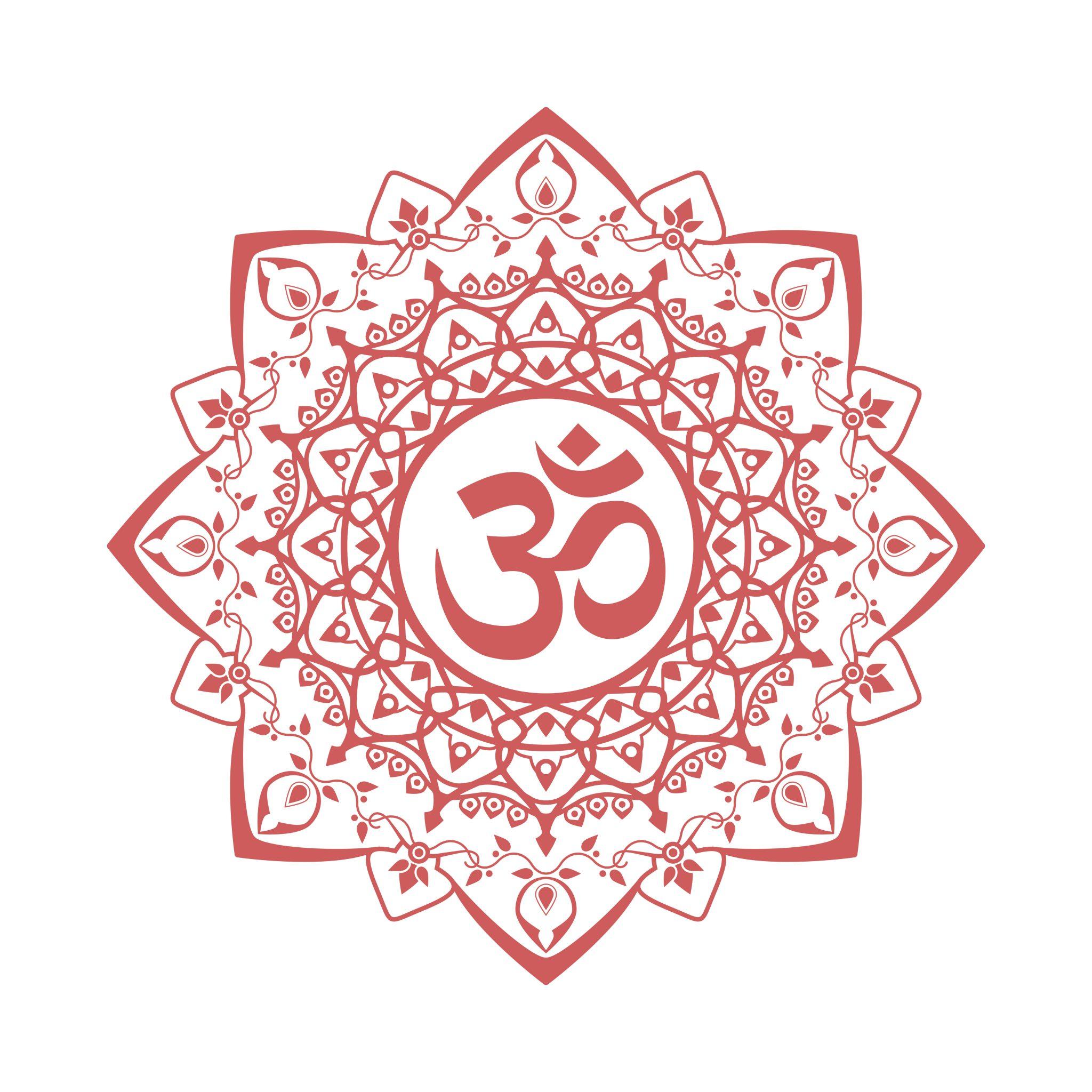 Ilustração de mandala com símbolo do OM no meio na cor vermelha