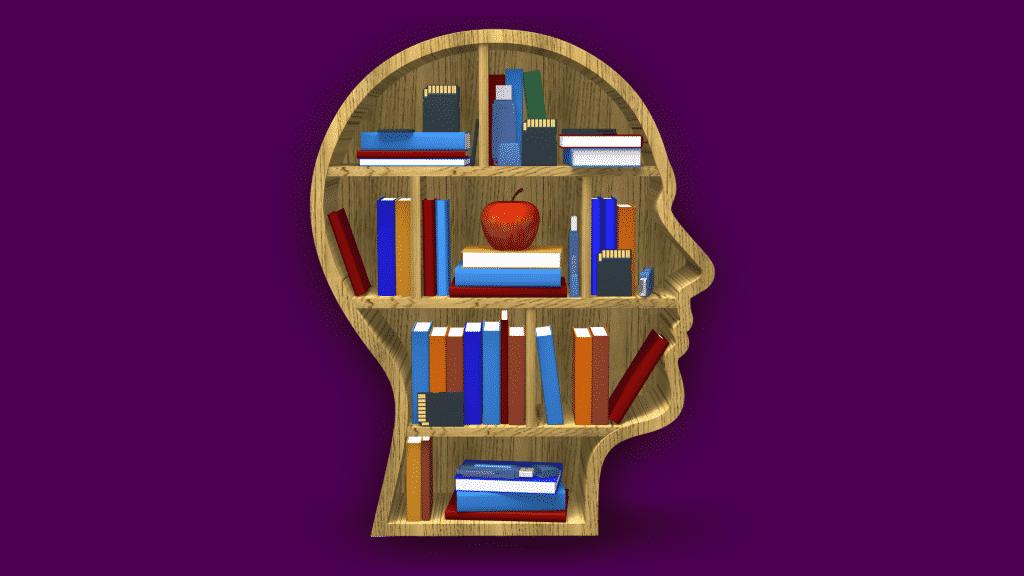 Prateleira com livros em formato de um perfil de rosto