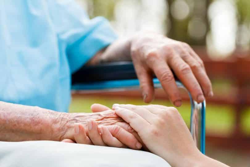 Mão de mulher branca em cima da mão de idoso branco.
