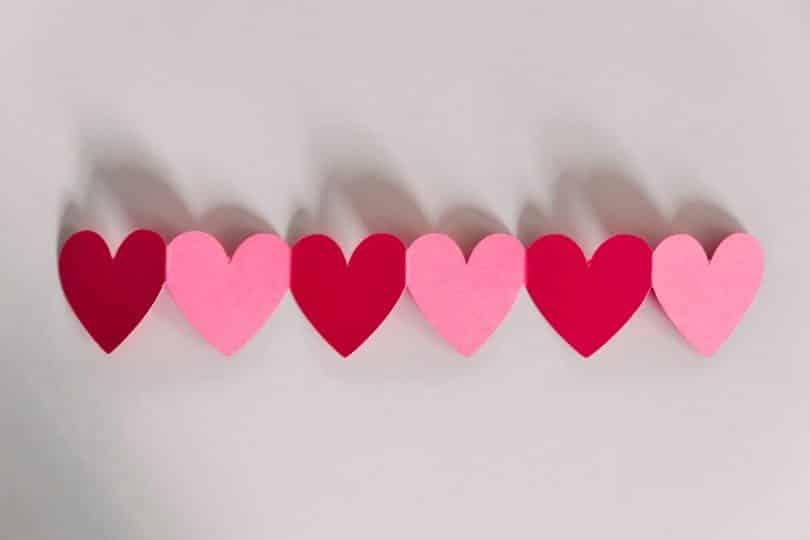 Corações recortados em uma mesa um ao lado do outro