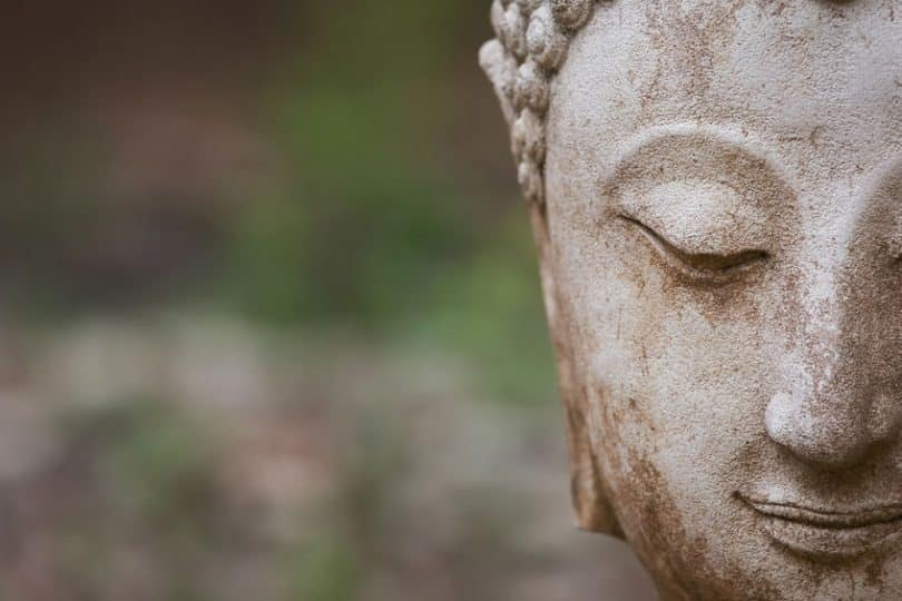 Meio rosto de estátua de Buda