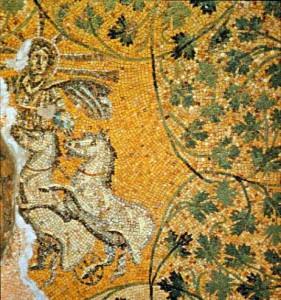 Mosaico de Jesus como Christo Sole (Cristo, o Sol) no Mausoléu M na necrópole do século 4 sob a Basílica de São Pedro, em Roma (imagem de domínio público).