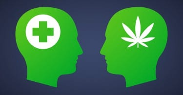 Illustration of a head set with a marijuana leaf and a pharmacy sign