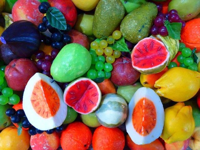 Frutas juntas vistas de cima
