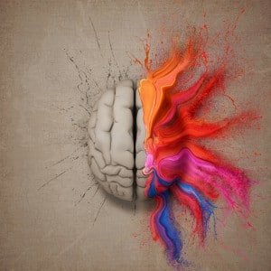 Creative mind or brain illustrated with colourful paint splatter