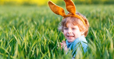 Cute little kid boy with Easter bunny ears in green grass on Easter holiday. Celebrating traditional european feast and making egg hunt. On warm spring day.