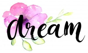 Dream - inspirational word at pastel violet background, typograp