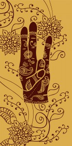 Element yoga Surya mudra hands with mehendi patterns. Vector illustration for a yoga studio, tattoo, spa, postcards, souvenirs.