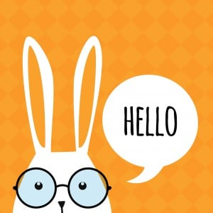 Greeting Card With Funny Bunny. Easter Bunny Ears.