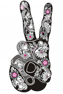 Vector illustration in floral style of a hand with victory sign