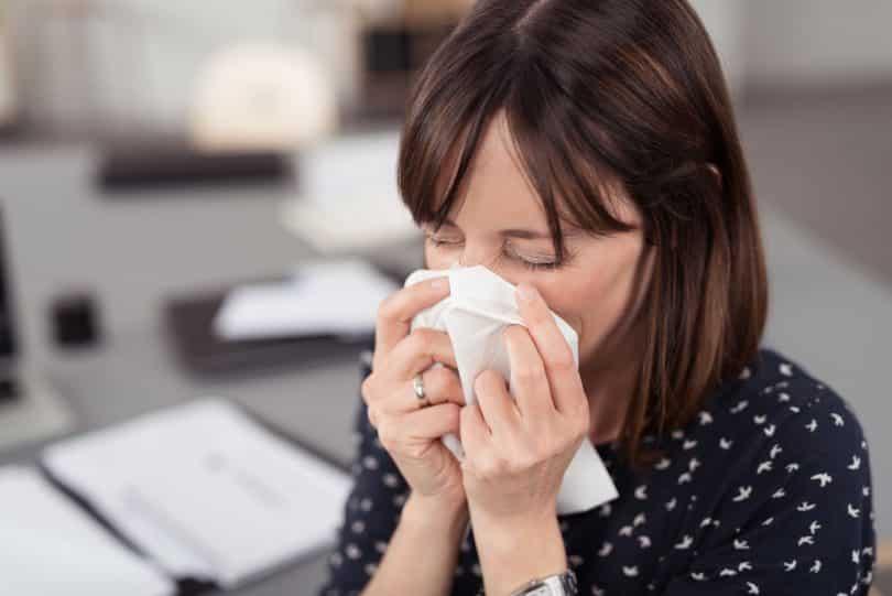 Mulher jovem doente espirrando no lenço branco.