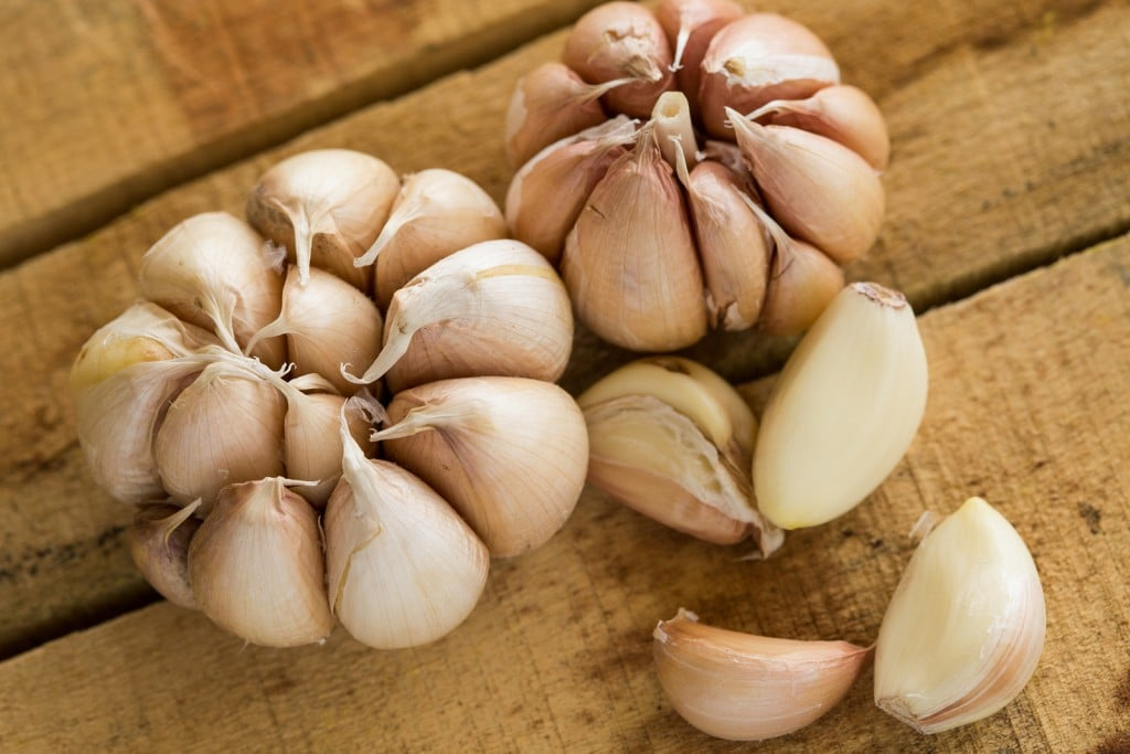 Garlic on the wooden background, Close up garlic on wooden table, Raw garlic in kitchen rooms.