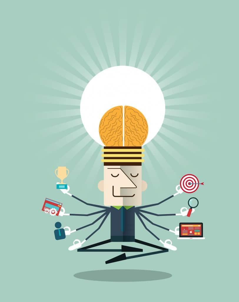Illustration of businessman meditating with multitasking.Human resources and self-development concepts - vector illustration