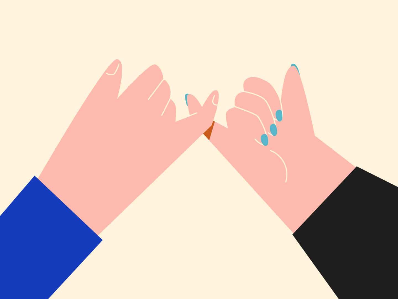 Mãos unidas pelo dedinho
