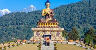 Gautama Buddha statue in the Buddha Park of Ravangla in South Sikkim India