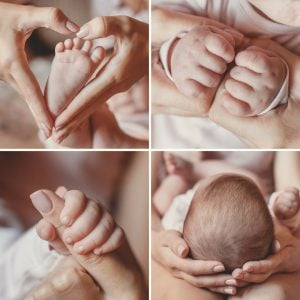 Close up of the hands and feet of the child,collage