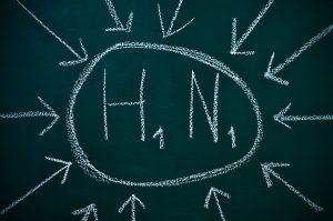 H1N1 written in a chalkboard referring to influenza A virus