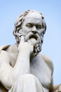 The classical Greek philosopher Socrates in front of the Academy of Athens ** Note: Slight blurriness, best at smaller sizes
