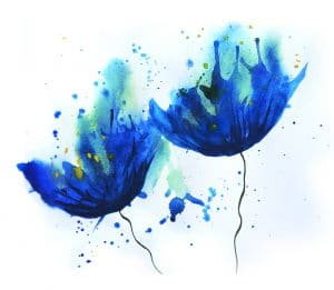 Watercolor of cornflower blue flowers. Summer mood easy sketch . Flowers picture