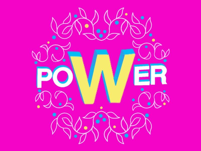 """Ilustração de flores escrito grande """"Power"""""""