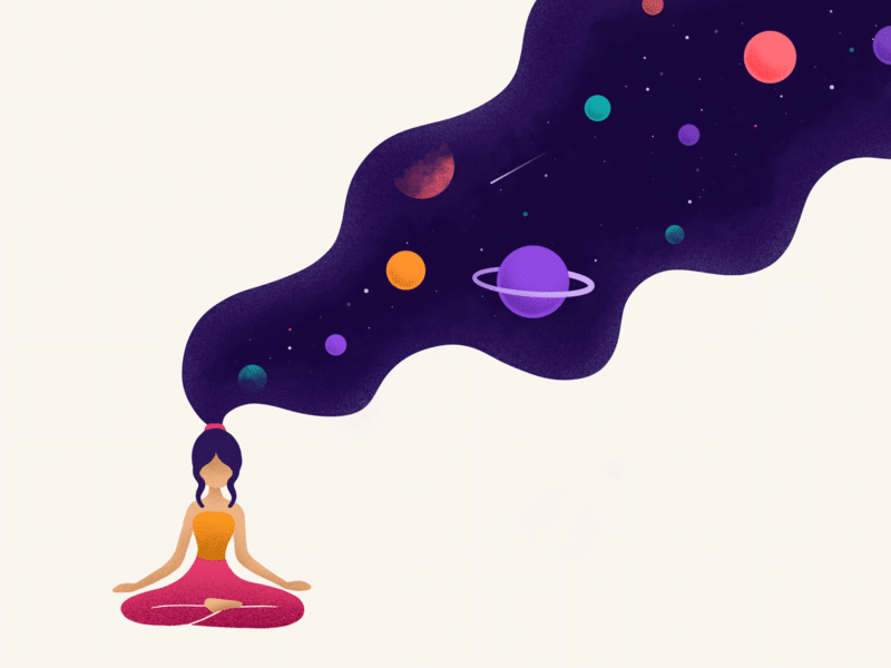 Ilustração de mulher meditando com planetas saindo do pensamento