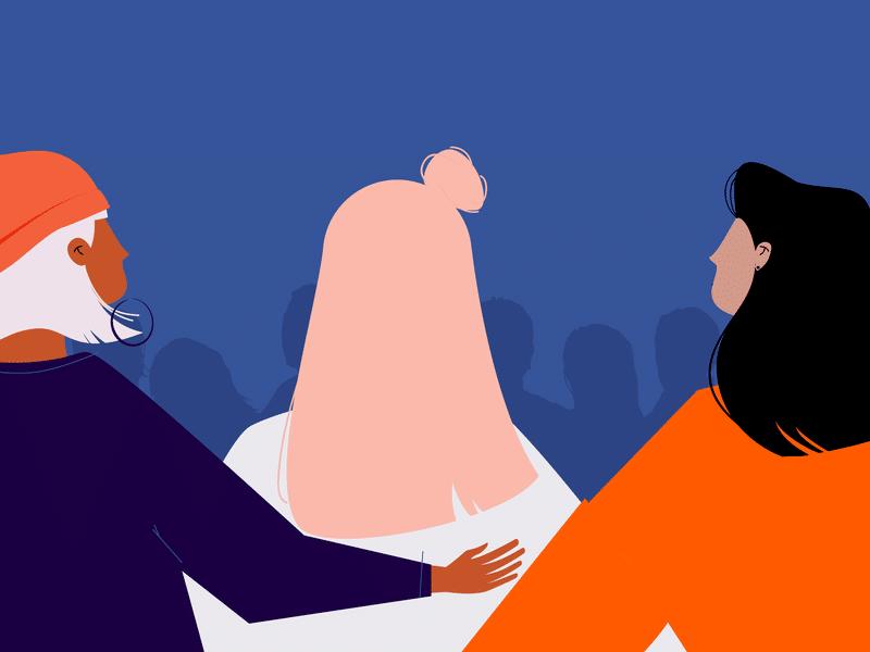 Ilustração de mulheres unidas