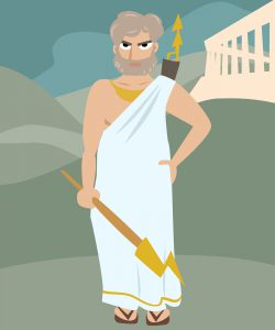 zeus deity cartoon vector colorful illustration of antique god