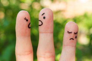 Finger art of family during quarrel. The concept of parents quar