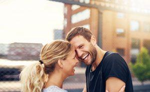 Happy Spontaneous Couple Share A Good Joke