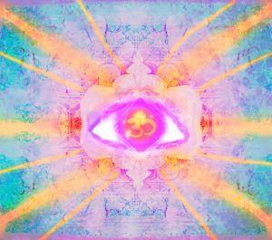 abstract illustration of a third eye mystical sign , raster