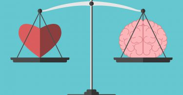 Heart and brain on scales. Balance love mind intelligence logic concept. Flat style. EPS 8 vector illustration no transparency