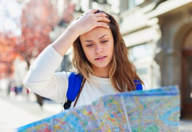 Lost travel tourist traveler studying confused street