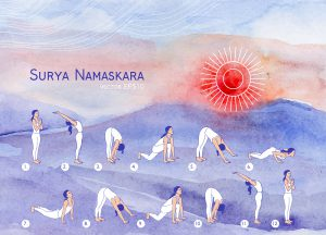 Vector yoga illustration. Surya Namaskara. Yoga poster for yoga class, yoga center, yoga studio. Sketch with girl in yoga asanas and watercolor landscape. Watercolor background. Healthy lifestyle.
