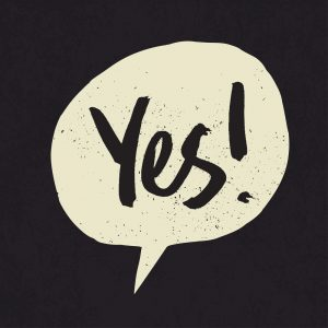 Yes sign in speech bubble. Grunge styled