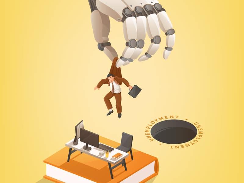 Ilustração de um trabalhador sendo jogado no buraco do desemprego.