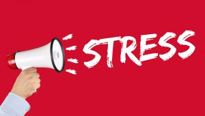 Stress stressed business concept burnout at work relaxed hand with megaphone