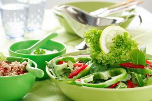 Healthy food - vegetable salad with tunny and low calorie