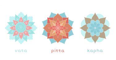 Ayurveda three doshas icons mandalas. Vata pitta and kapha doshas. Ayurvedic body types. Vector illustration