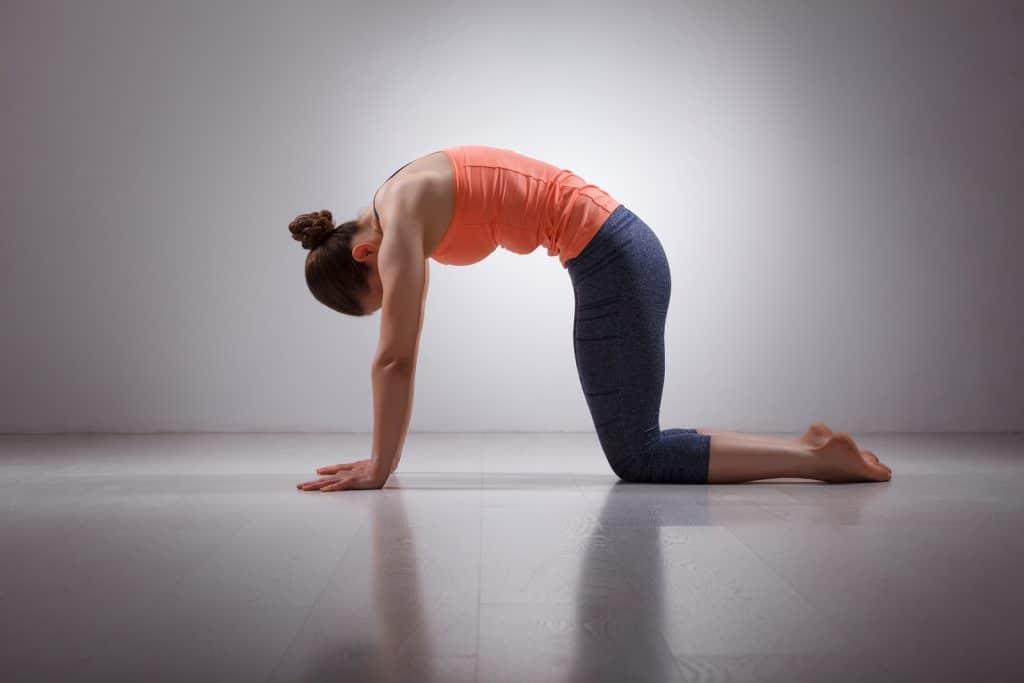 Mulher fazendo a posição gato vaca do yoga.