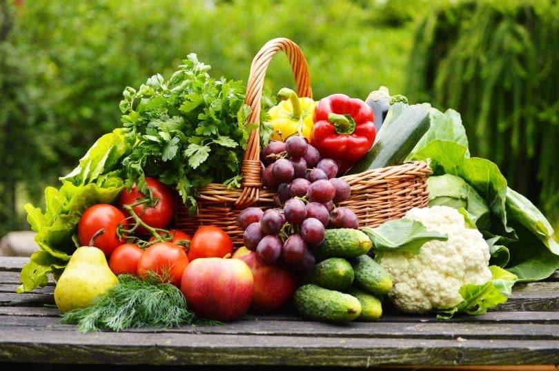 Vegetais e frutas em cesta sobre superfície de madeira escura. O cenário é externo e arborizado.