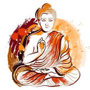 Buddha. Hand drawn grunge style art. Colorful retro vector illustration. Banner, greeting card, t-shirt, bag, print, poster.
