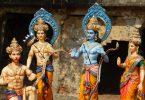 HYDERABAD,INDIA-APRIL 15: Idols of Hindu gods Rama ,laxmana, goddess sita on Transport lorry for procession rath yatra on sri rama navami festival on April 15,2016 in Hyderabad,India.