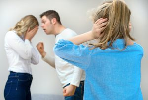 Parents quarreling at home child in shock.