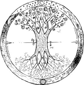 Yggdrasil is the celtic tree that represents life with a lot of braches and roots. You can see this mandala upside down too.
